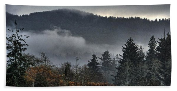 Fall Low Clouds And Fog Beach Towel