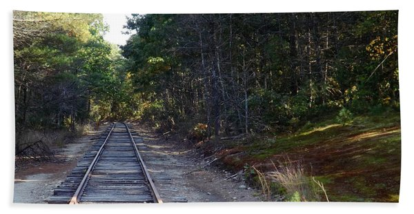 Fall Railroad Track To Somewhere Beach Sheet