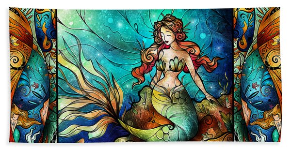 The Serene Siren Triptych Beach Sheet
