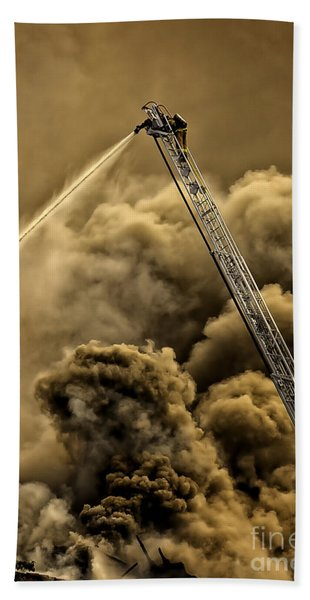 Beach Towel featuring the photograph Firefighter-heat Of The Battle by David Millenheft