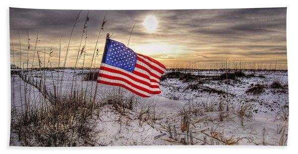 Flag On The Beach Beach Towel