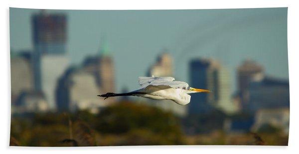 Flight Of The Great Egret Beach Towel