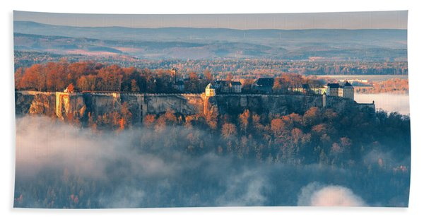 Fog Around The Fortress Koenigstein Beach Towel