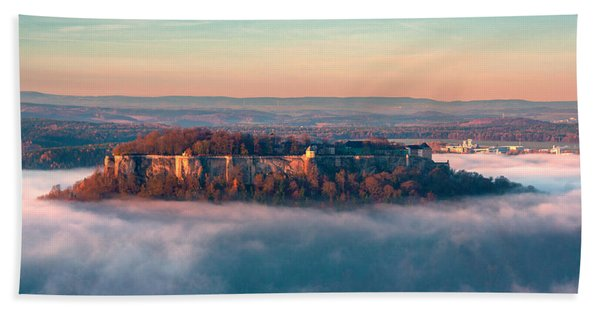 Fog Surrounding The Fortress Koenigstein Beach Towel