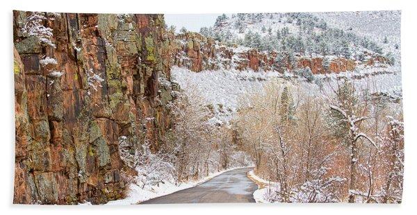 Follow The Red Rock Ridge Winter Road  Beach Towel