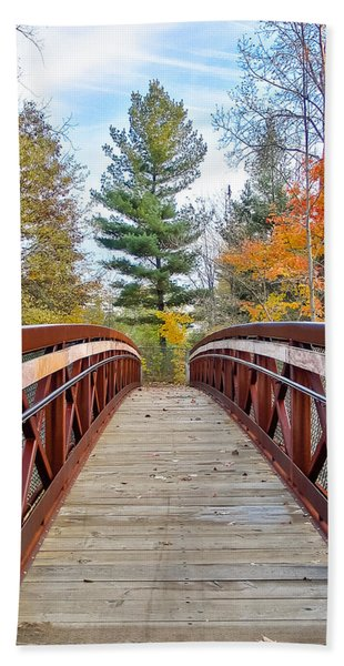 Foot Bridge In Fall Beach Towel