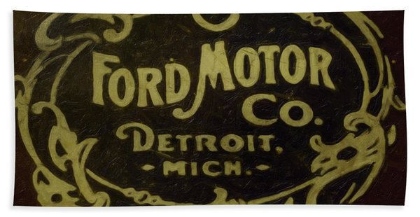 Beach Towel featuring the painting Ford Motor Company by David Millenheft