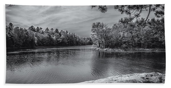 Fork In River Bw Beach Towel