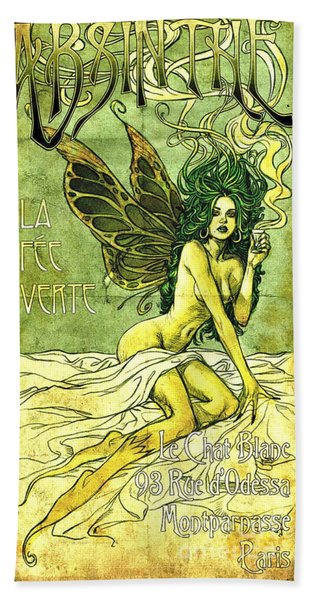 French Cafe Poster C1885 Beach Towel