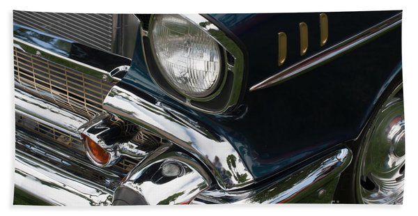 Beach Towel featuring the photograph Front Side Of A Classic Car by Gunter Nezhoda