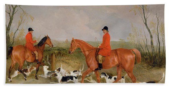 George Mountford, Huntsman To The Quorn, And W. Derry, Whipper-in, At John Ogaunts Gorse, Nr Melton Beach Towel