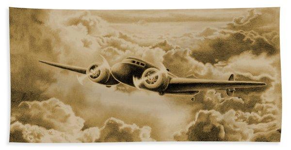 Ghost Flight- Amelia Earhart Sepia Beach Towel
