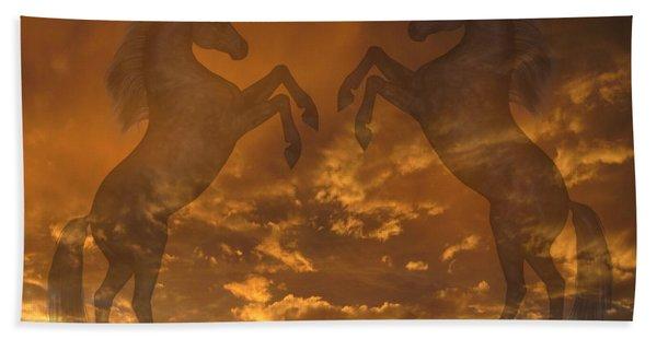 Ghost Horses At Sunset Beach Towel