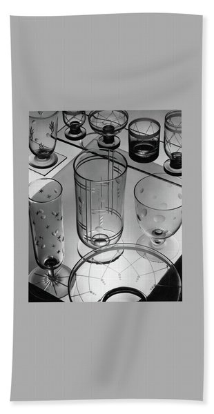 Glasses And Crystal Vases By Walter D Teague Beach Towel