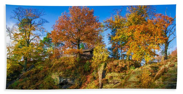 Golden Autumn On Neurathen Castle Beach Towel
