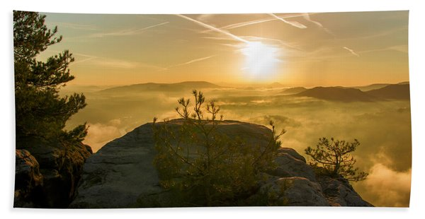 Golden Morning On The Lilienstein Beach Towel
