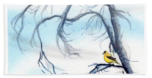 Goldfinch In Tree Beach Towel