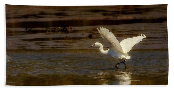 Great Egret Taking Off Beach Towel