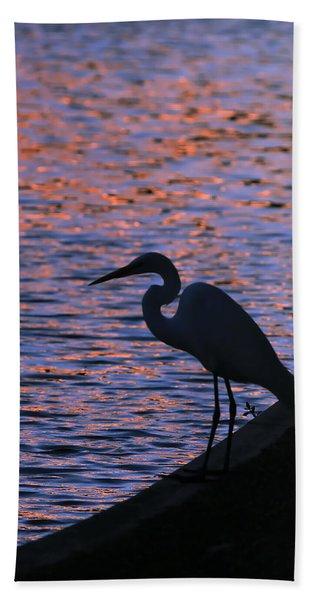 Great White Egret Silhouette  Beach Towel