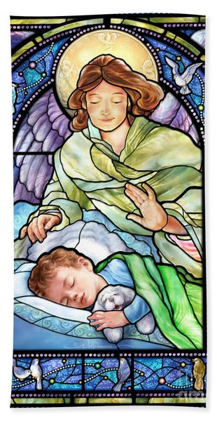 Guardian Angel With Sleeping Boy Beach Sheet