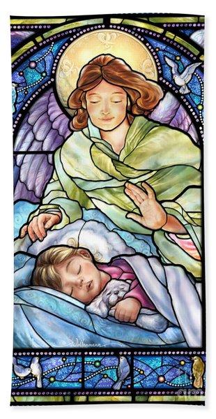 Guardian Angel With Sleeping Girl Beach Sheet