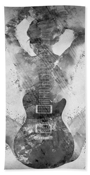 Guitar Siren In Black And White Beach Towel
