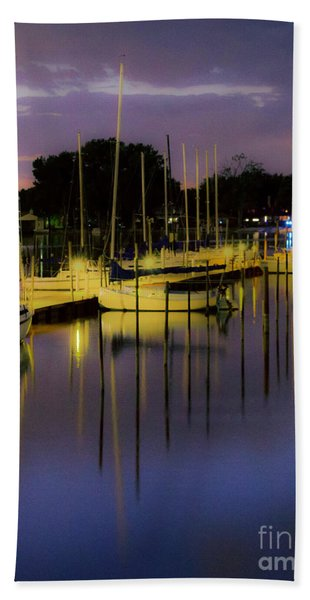 Harbor At Night Beach Towel