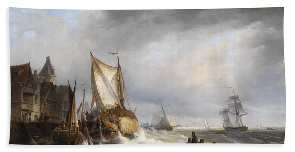 Harbor In A Stormy Sea Beach Towel