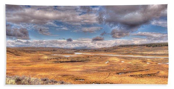Hayden Valley Bison On Yellowstone River Beach Towel