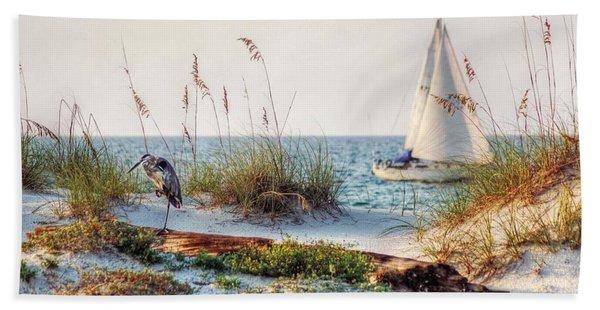 Heron And Sailboat Beach Towel
