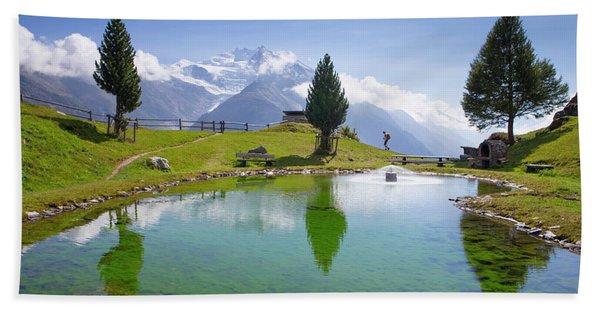 Hiker At Jungen Alp, Meadow Above Swiss Beach Towel