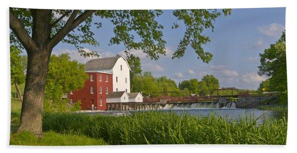 Historic Flour Mill By A River Beach Towel