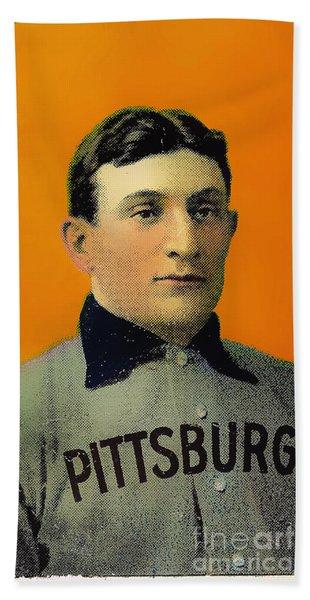 Honus Wagner Baseball Card 0838 Beach Towel