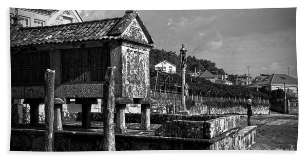 Horreo And Cruceiro In Galicia Bw Beach Towel