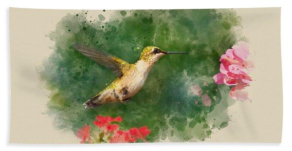 Hummingbird - Watercolor Art Beach Towel