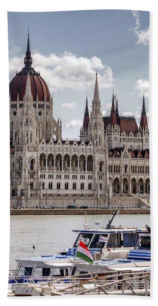 Hungarian Parliament Across The Danube Beach Towel