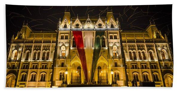 Hungarian Parliament At Night Beach Towel