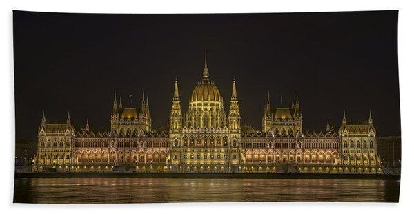 Hungarian Parliament Building Night Beach Towel