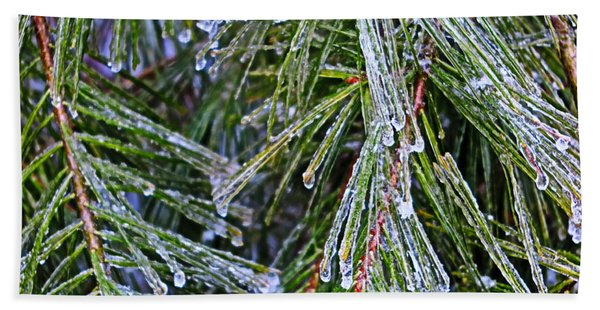 Ice On Pine Needles  Beach Towel
