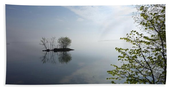 Beach Towel featuring the photograph In The Distance On Mille Lacs Lake In Garrison Minnesota by Jacqueline Athmann