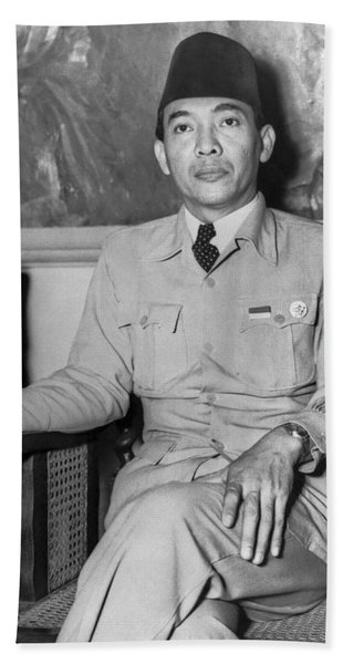 Indonesian President Sukarno Beach Towel