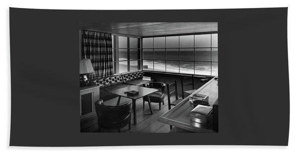 Interior Of Beach House Owned By Anatole Litvak Beach Towel