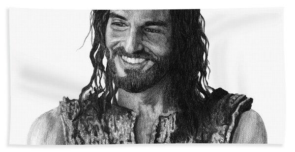 Jesus Smiling Beach Towel