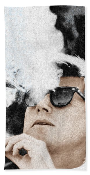 John F Kennedy Cigar And Sunglasses Beach Towel
