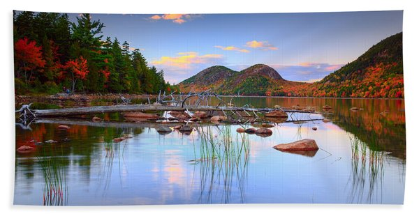 Jordan Pond In Fall Beach Towel