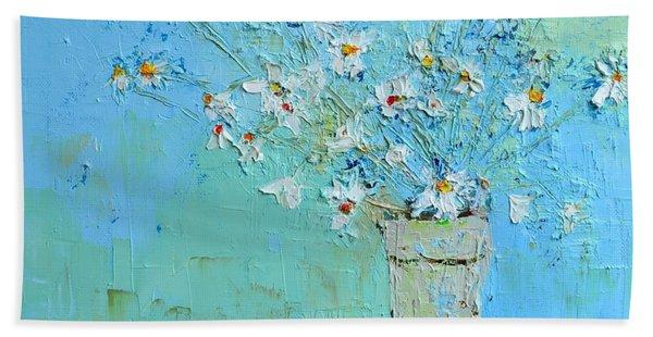 Joyful Daisies, Flowers, Modern Impressionistic Art Palette Knife Oil Painting Beach Sheet