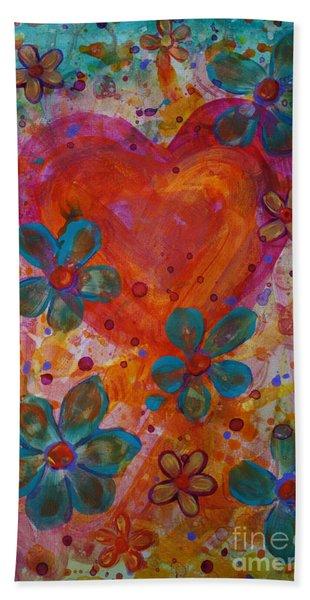 Beach Towel featuring the painting Joyful Noise by Jacqueline Athmann