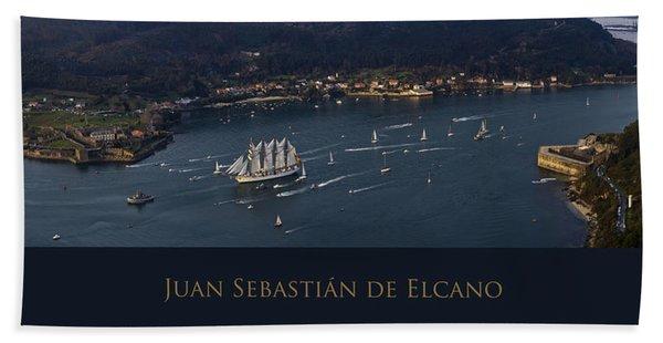 Juan Sebastian Elcano Departing The Port Of Ferrol Beach Towel