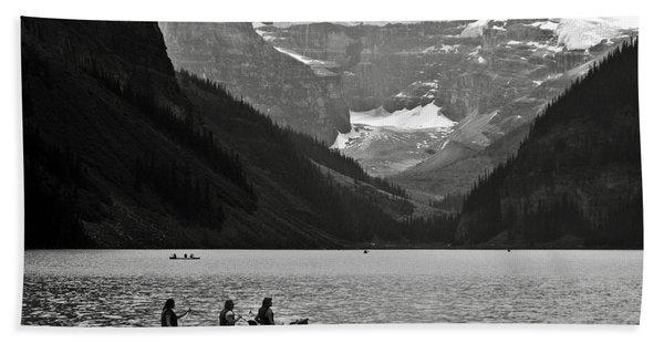 Kayak On Lake Louise Beach Towel