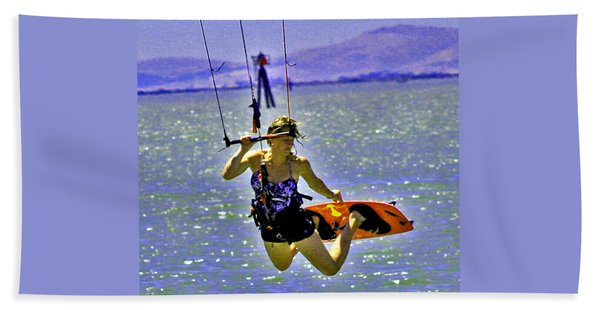 A Kite Board Hoot Beach Towel